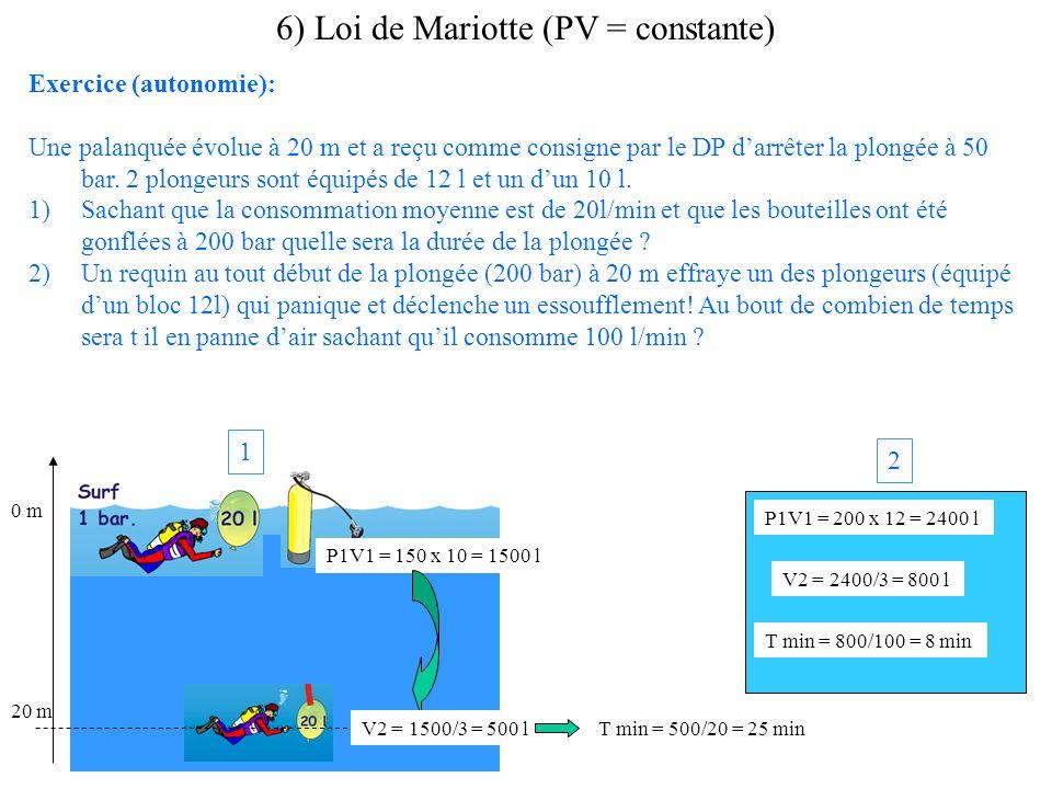 Exercice (autonomie): Une palanquée évolue à 20 m et a reçu comme consigne par le DP darrêter la plongée à 50 bar. 2 plongeurs sont équipés de 12 l et