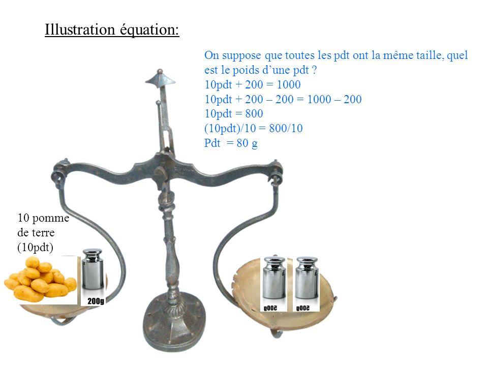 Illustration équation: 10 pomme de terre (10pdt) On suppose que toutes les pdt ont la même taille, quel est le poids dune pdt ? 10pdt + 200 = 1000 10p