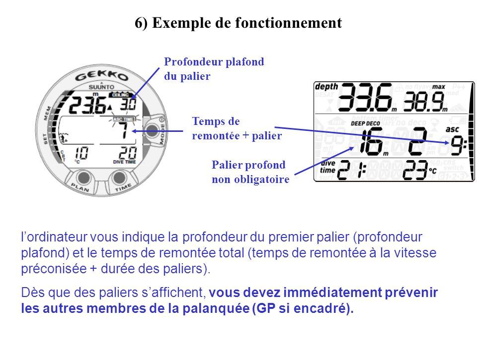 6) Exemple de fonctionnement lordinateur vous indique la profondeur du premier palier (profondeur plafond) et le temps de remontée total (temps de rem