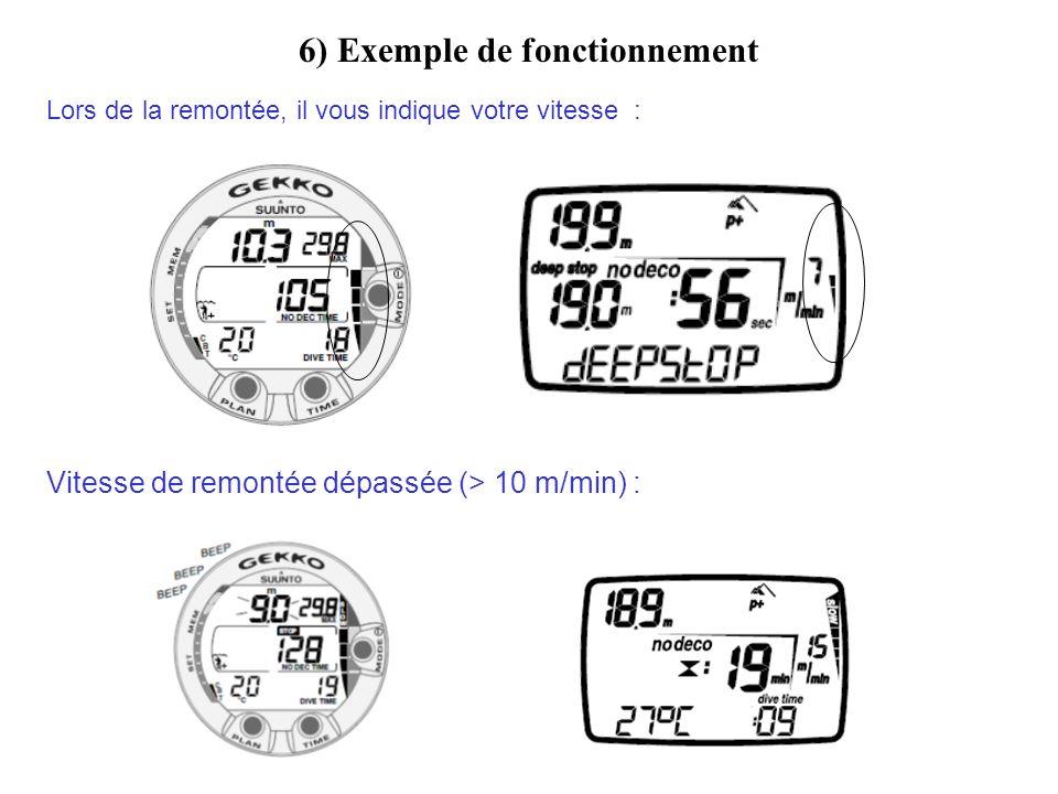6) Exemple de fonctionnement Lors de la remontée, il vous indique votre vitesse : Vitesse de remontée dépassée (> 10 m/min) :