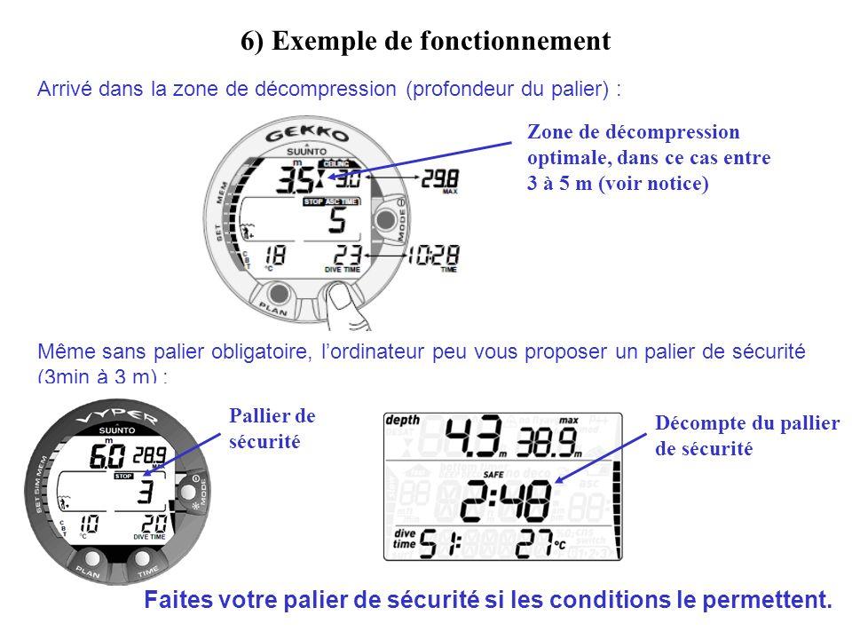 6) Exemple de fonctionnement Arrivé dans la zone de décompression (profondeur du palier) : Même sans palier obligatoire, lordinateur peu vous proposer