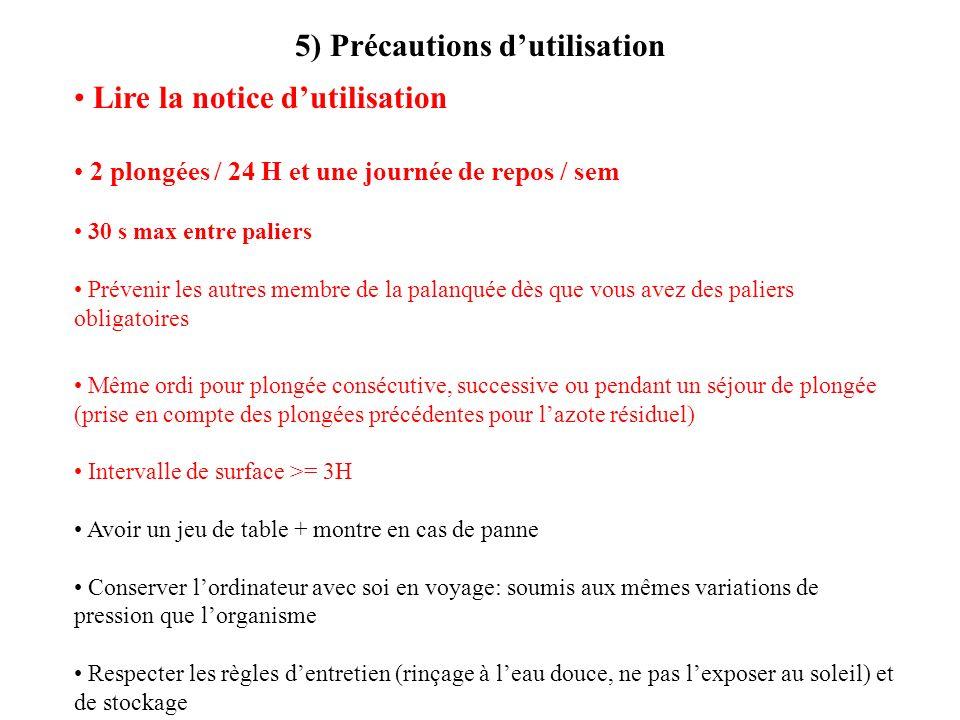 5) Précautions dutilisation Lire la notice dutilisation 2 plongées / 24 H et une journée de repos / sem 30 s max entre paliers Prévenir les autres mem