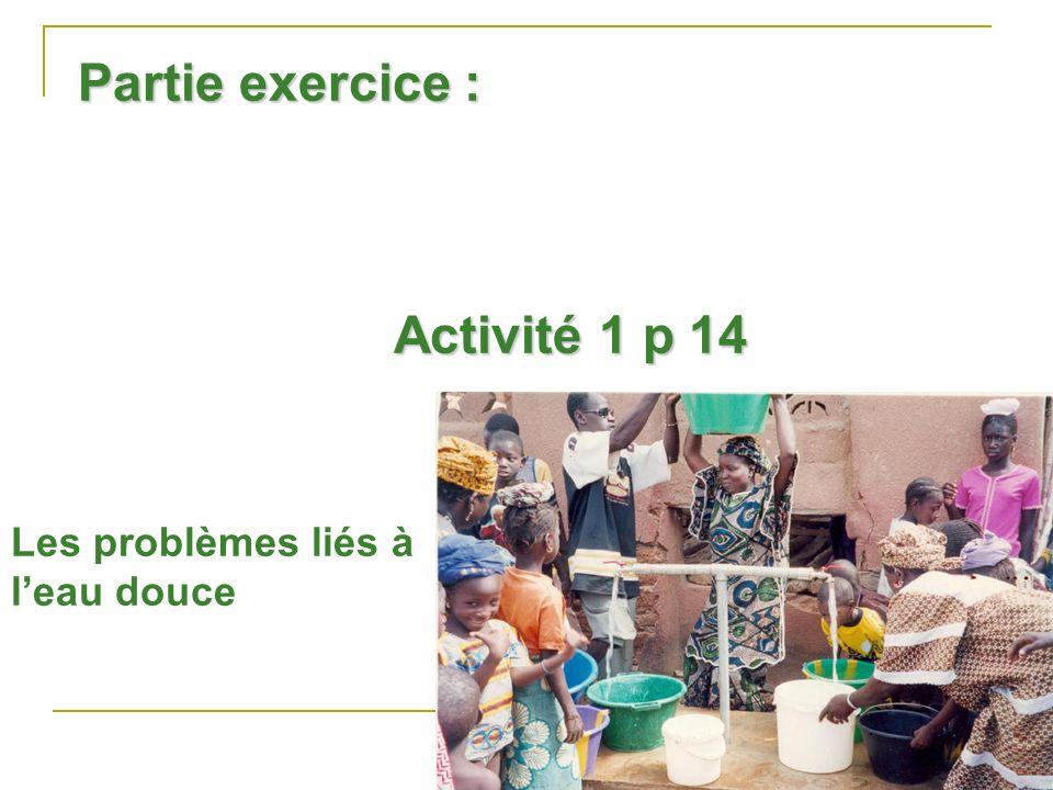 Partie exercice : Activité 1 p 14 Les problèmes liés à leau douce