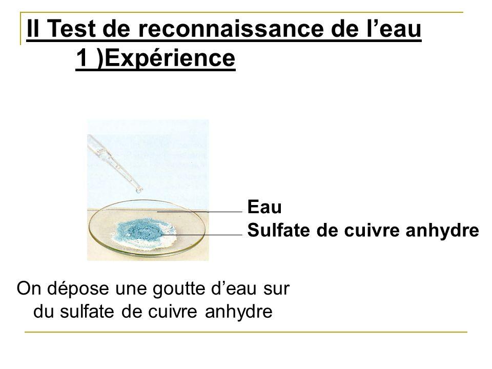II Test de reconnaissance de leau 1 )Expérience Eau Sulfate de cuivre anhydre On dépose une goutte deau sur du sulfate de cuivre anhydre