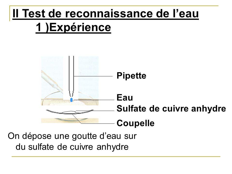 II Test de reconnaissance de leau 1 )Expérience Eau Sulfate de cuivre anhydre On dépose une goutte deau sur du sulfate de cuivre anhydre Coupelle Pipe