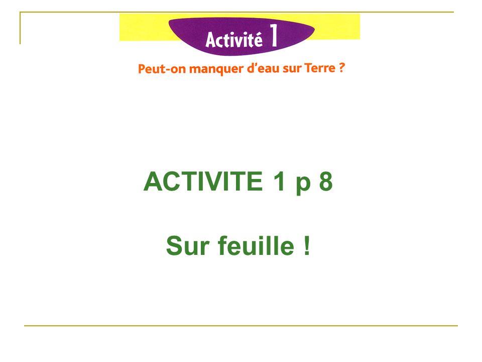 ACTIVITE 1 p 8 Sur feuille !
