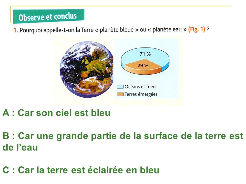 A : Car son ciel est bleu B : Car une grande partie de la surface de la terre est de leau C : Car la terre est éclairée en bleu