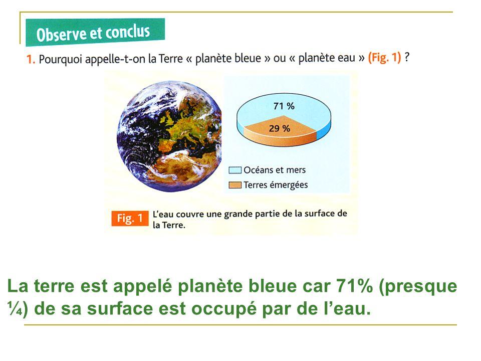 La terre est appelé planète bleue car 71% (presque ¼) de sa surface est occupé par de leau.