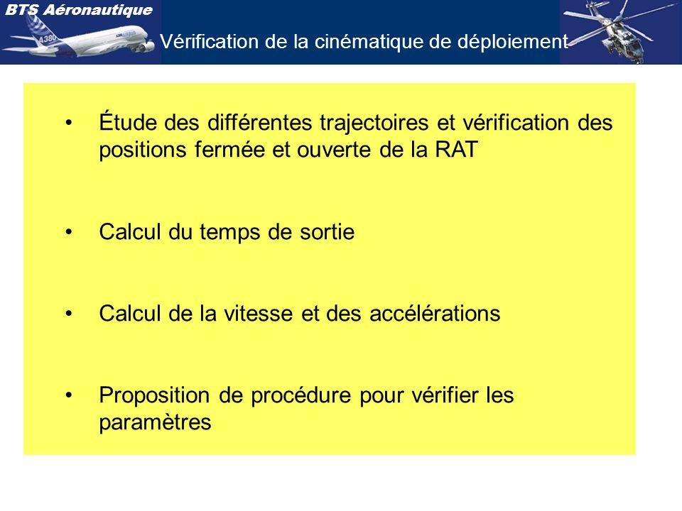 BTS Aéronautique Étude des différentes trajectoires et vérification des positions fermée et ouverte de la RAT Calcul du temps de sortie Calcul de la v