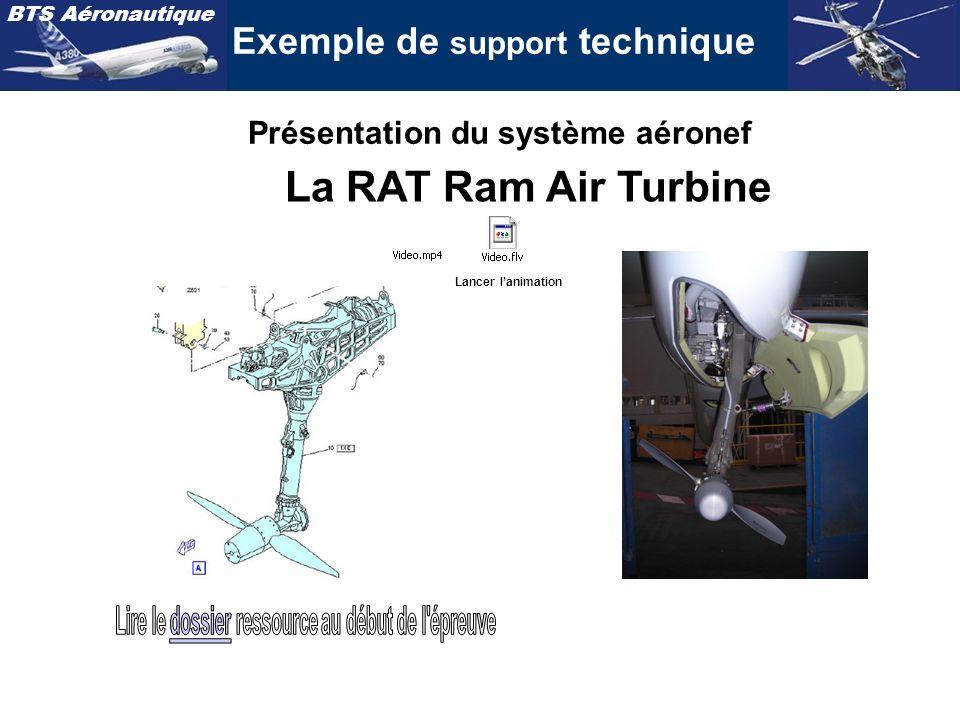 BTS Aéronautique Exemple de support technique La RAT Ram Air Turbine Présentation du système aéronef Lancer lanimation