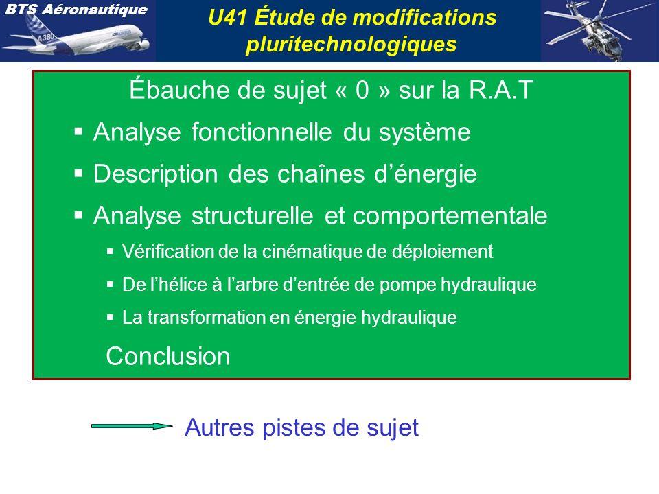BTS Aéronautique U41 Étude de modifications pluritechnologiques Ébauche de sujet « 0 » sur la R.A.T Analyse fonctionnelle du système Description des c