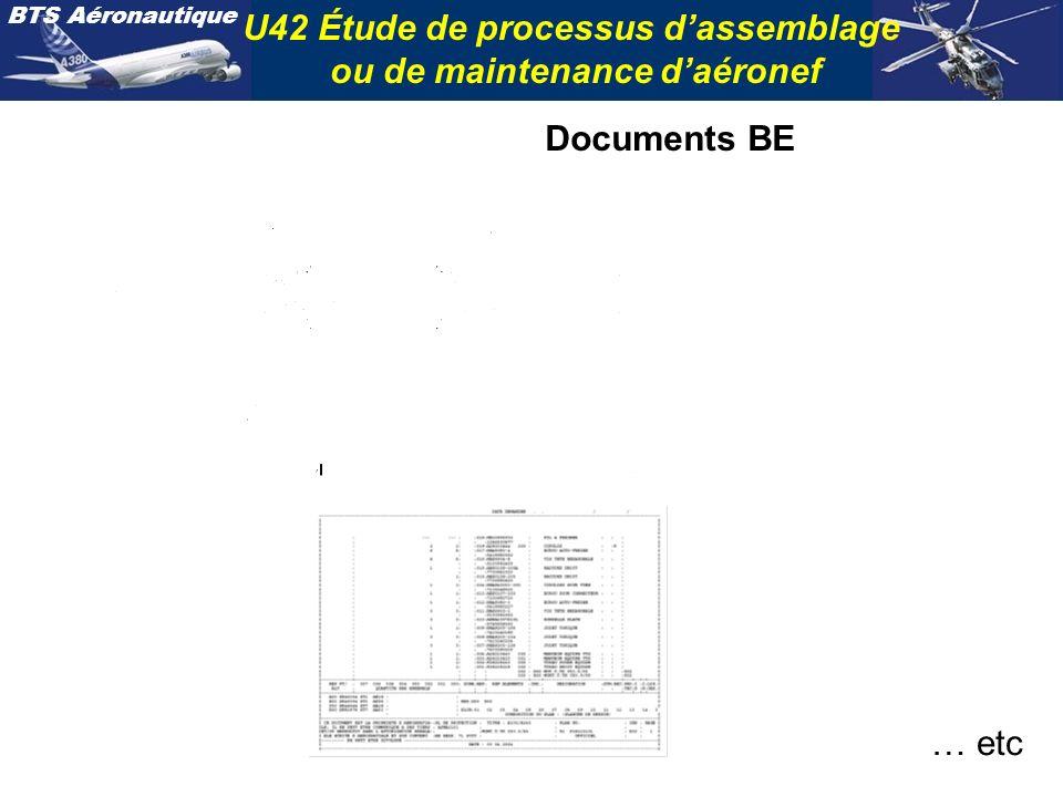 BTS Aéronautique U42 Étude de processus dassemblage ou de maintenance daéronef Documents BE … etc