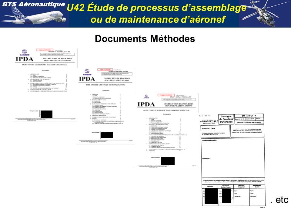 BTS Aéronautique U42 Étude de processus dassemblage ou de maintenance daéronef Documents Méthodes … etc