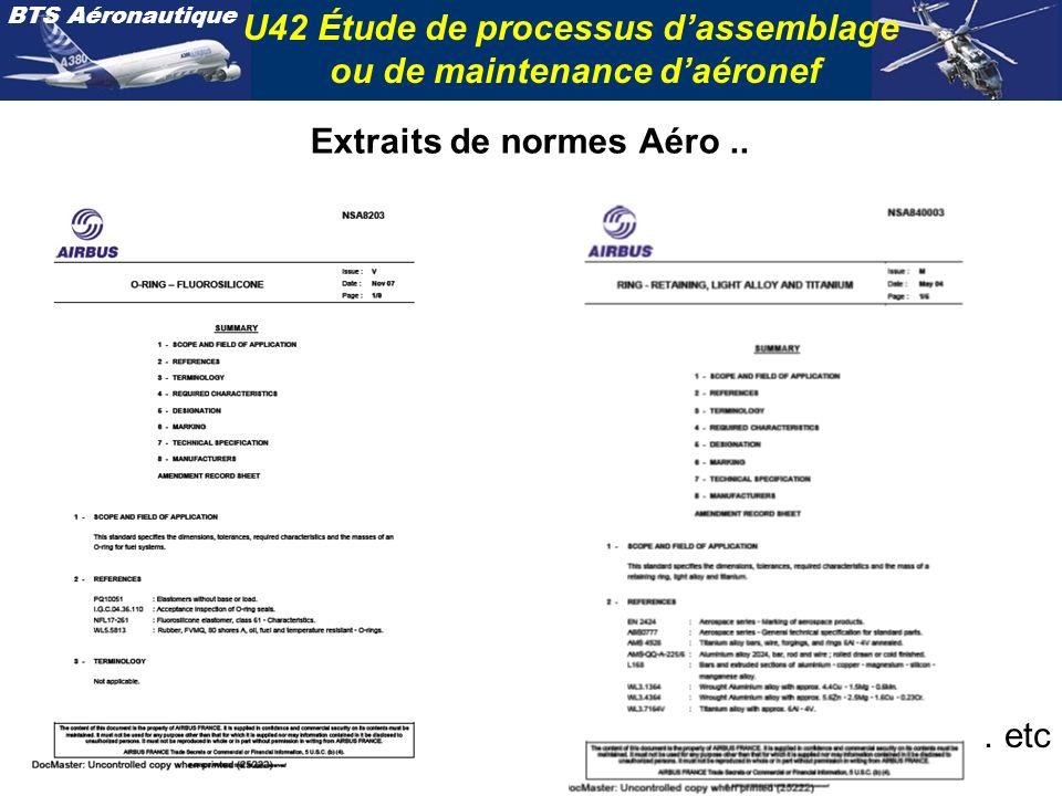 BTS Aéronautique U42 Étude de processus dassemblage ou de maintenance daéronef Extraits de normes Aéro.. … etc