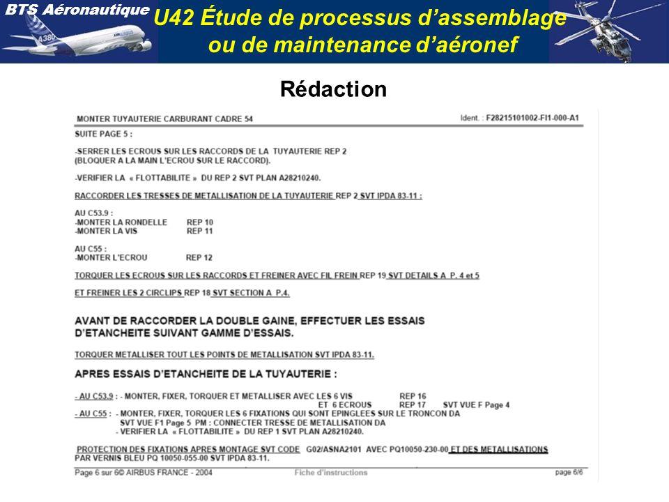BTS Aéronautique U42 Étude de processus dassemblage ou de maintenance daéronef Rédaction
