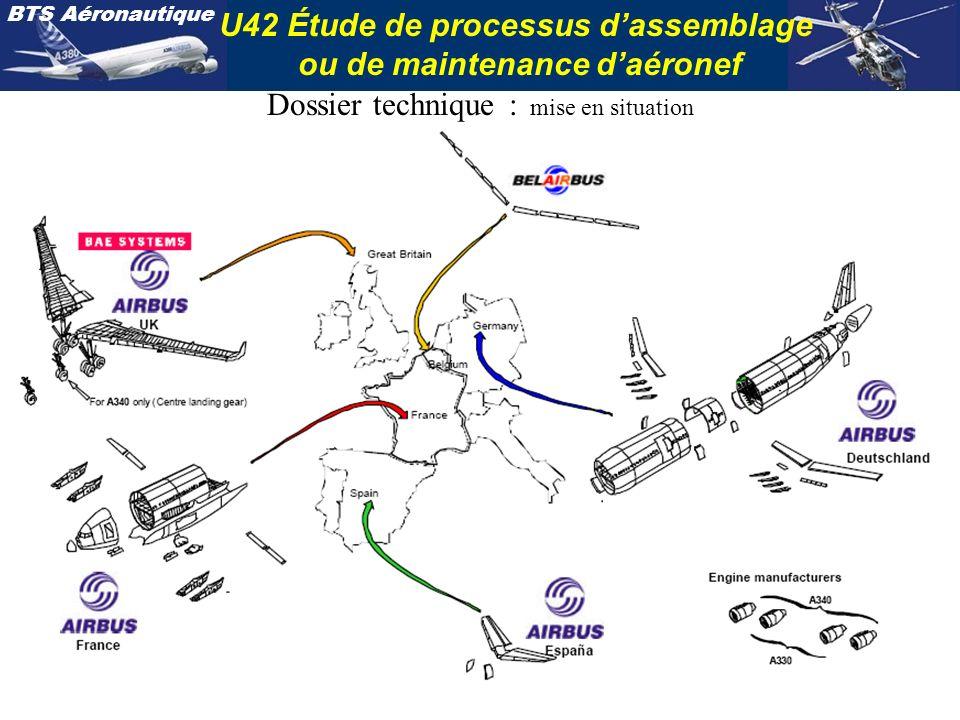 BTS Aéronautique U42 Étude de processus dassemblage ou de maintenance daéronef Dossier technique : mise en situation