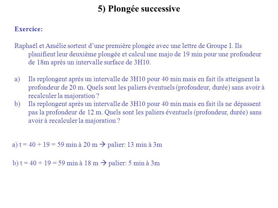 5) Plongée successive Exercice: Raphaël et Amélie sortent dune première plongée avec une lettre de Groupe I. Ils planifient leur deuxième plongée et c