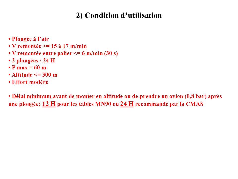 2) Condition dutilisation Plongée à lair V remontée <= 15 à 17 m/min V remontée entre palier <= 6 m/min (30 s) 2 plongées / 24 H P max = 60 m Altitude