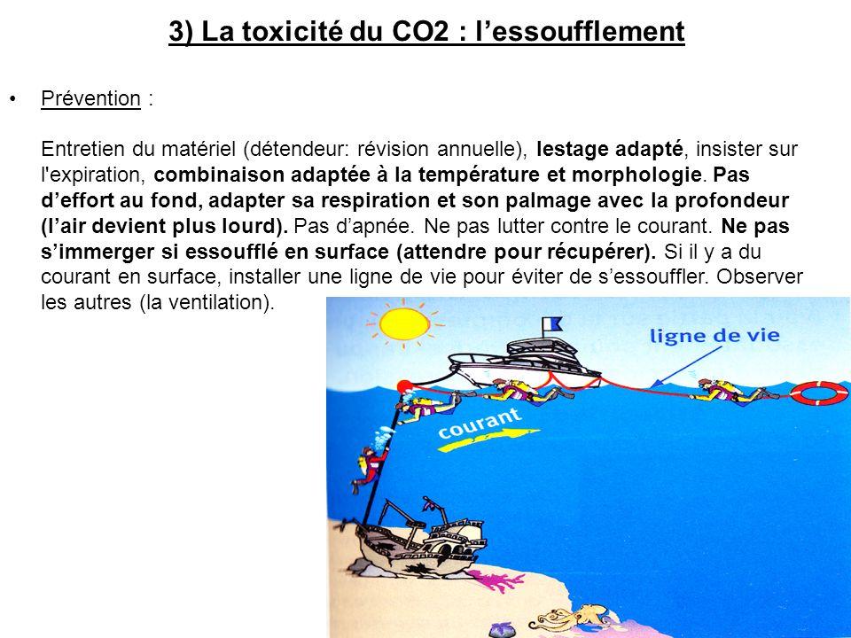 3) La toxicité du CO2 : lessoufflement Prévention : Entretien du matériel (détendeur: révision annuelle), lestage adapté, insister sur l expiration, combinaison adaptée à la température et morphologie.
