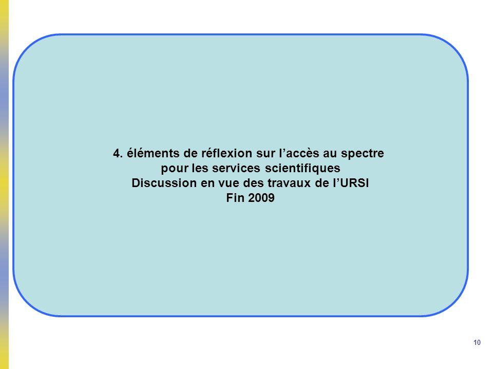 10 4. éléments de réflexion sur laccès au spectre pour les services scientifiques Discussion en vue des travaux de lURSI Fin 2009