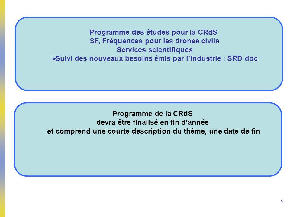 5 Programme des études pour la CRdS SF, Fréquences pour les drones civils Services scientifiques Suivi des nouveaux besoins émis par lindustrie : SRD