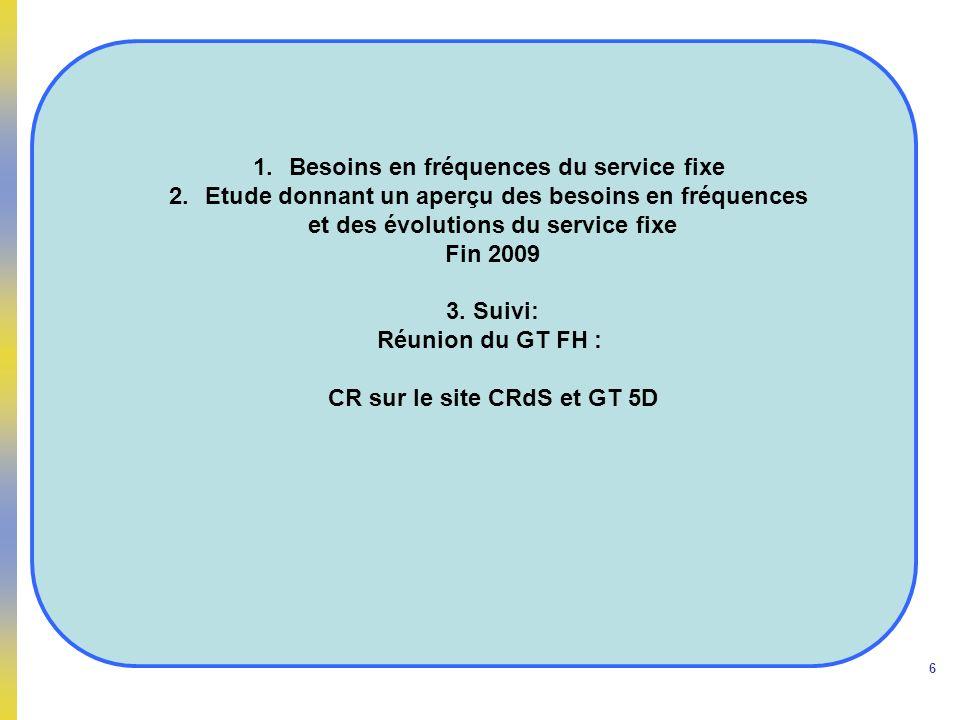 6 1.Besoins en fréquences du service fixe 2.Etude donnant un aperçu des besoins en fréquences et des évolutions du service fixe Fin 2009 3. Suivi: Réu