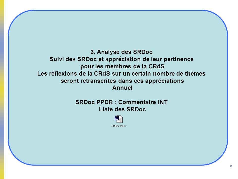 8 3. Analyse des SRDoc Suivi des SRDoc et appréciation de leur pertinence pour les membres de la CRdS Les réflexions de la CRdS sur un certain nombre