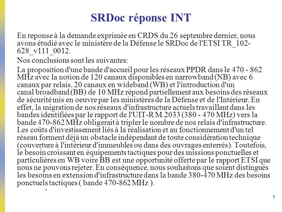 9 SRDoc réponse INT En reponse à la demande exprimée en CRDS du 26 septembre dernier, nous avons étudié avec le ministère de la Défense le SRDoc de l'