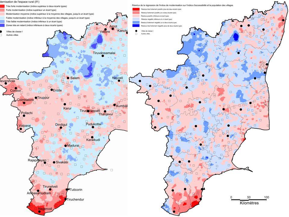 Une nouvelle géographie de la modernisation tamoule La modernisation des villages, une fois enlevée les différences liées à la population des villages