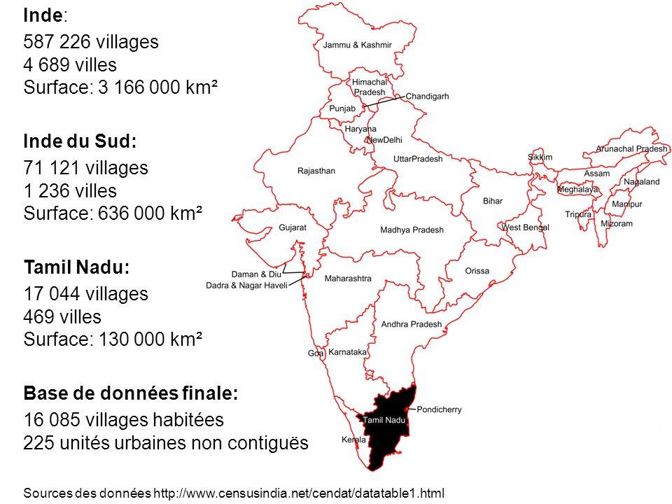 Tamil Nadu: 17 044 villages 469 villes Surface: 130 000 km² Inde du Sud: 71 121 villages 1 236 villes Surface: 636 000 km² Inde: 587 226 villages 4 68