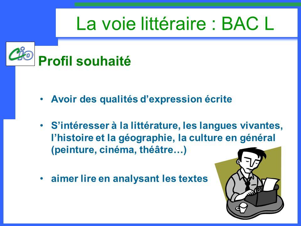 La voie littéraire : BAC L BAC L1èreTerminaleCoeff Enseignements obligatoires communs Français et littérature6h_5 Philosophie_8h7 Littérature_4h4 Histoire-géographie4h 4 LV13h303h4 LV22h 4 ou latin3h 4 Mathématiques-informatique2h_2 Enseignement scientifique1h30_2 EPS2h 2 ECJS30mn _ TPE2h_2