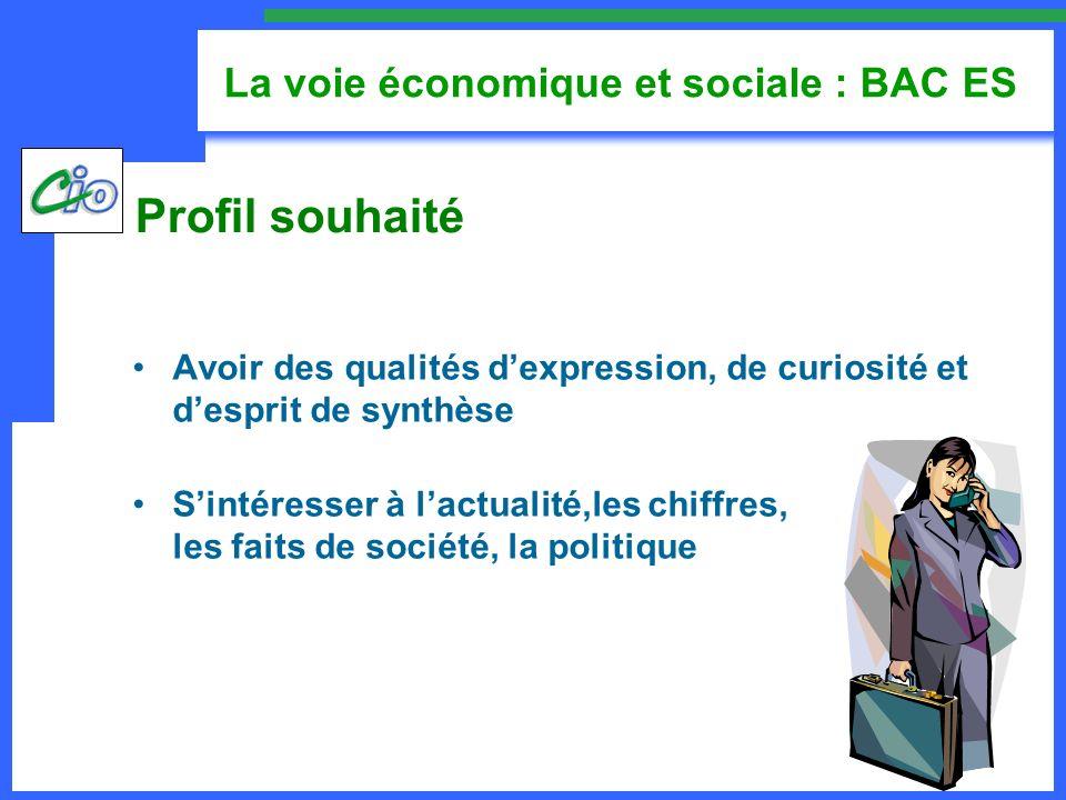 La voie économique et sociale : BAC ES Avoir des qualités dexpression, de curiosité et desprit de synthèse Sintéresser à lactualité,les chiffres, les