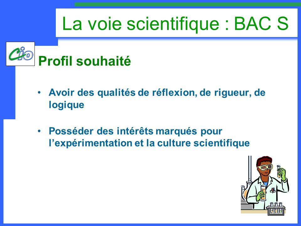 La voie scientifique : BAC S Avoir des qualités de réflexion, de rigueur, de logique Posséder des intérêts marqués pour lexpérimentation et la culture