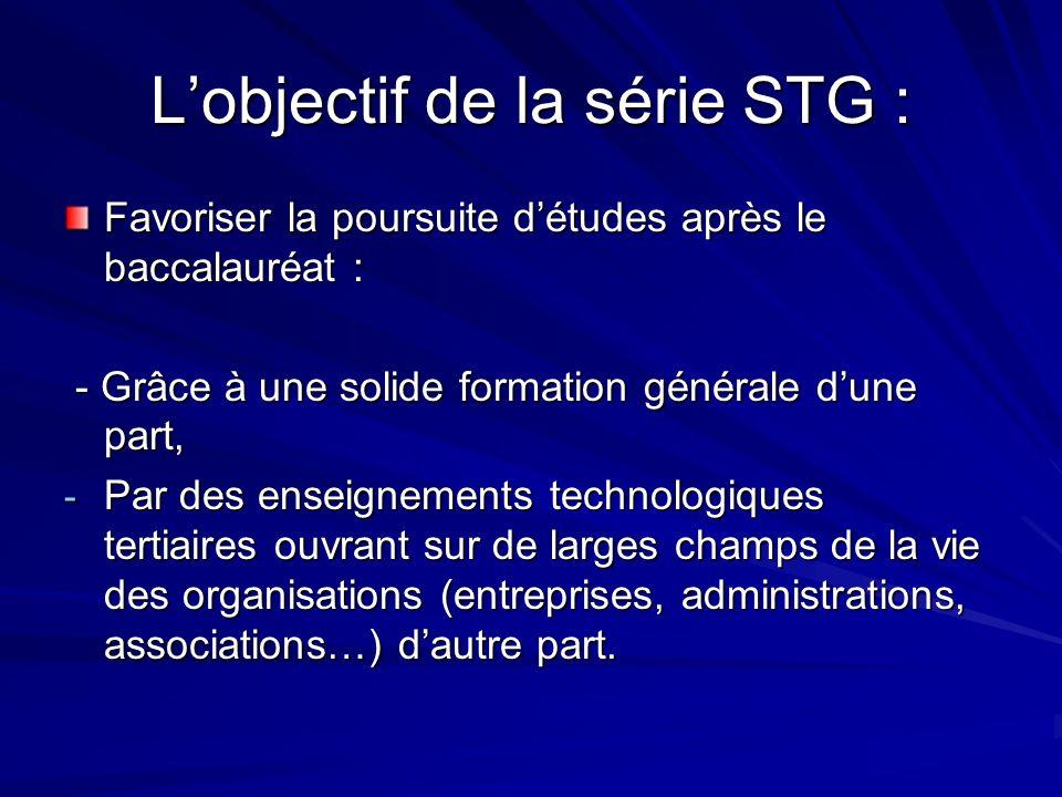 Lobjectif de la série STG : Favoriser la poursuite détudes après le baccalauréat : - Grâce à une solide formation générale dune part, - Grâce à une so