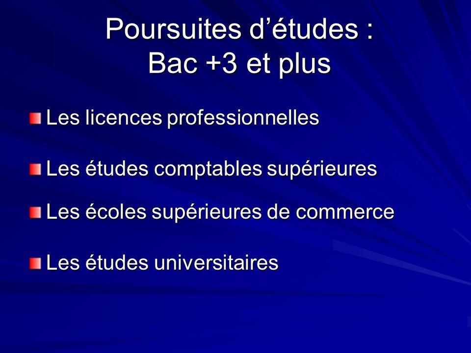 Les licences professionnelles Poursuites détudes : Bac +3 et plus Les études comptables supérieures Les écoles supérieures de commerce Les études univ