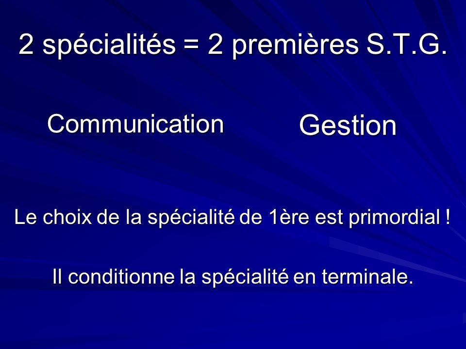 2 spécialités = 2 premières S.T.G. CommunicationGestion Le choix de la spécialité de 1ère est primordial ! Il conditionne la spécialité en terminale.