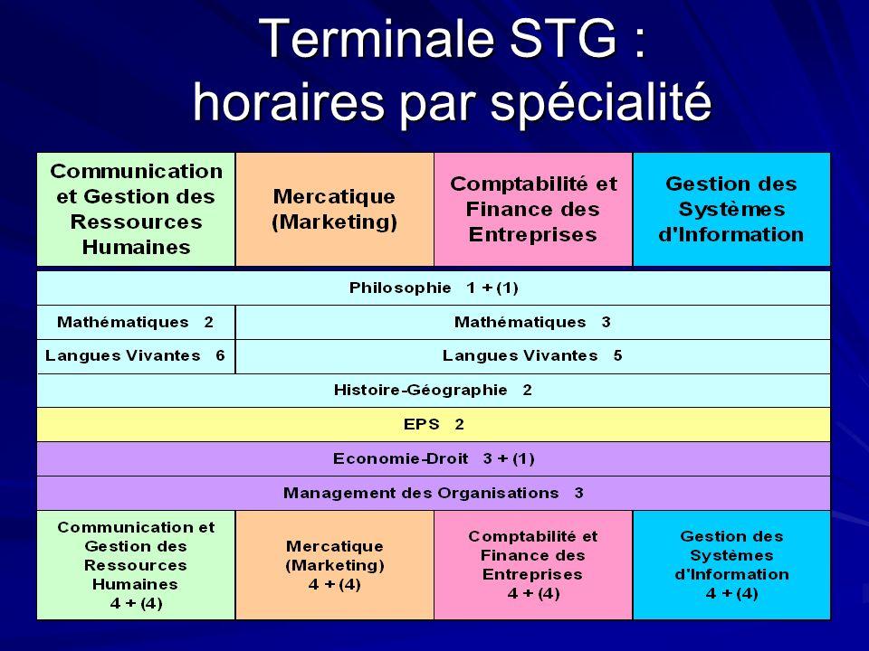 Terminale STG : horaires par spécialité
