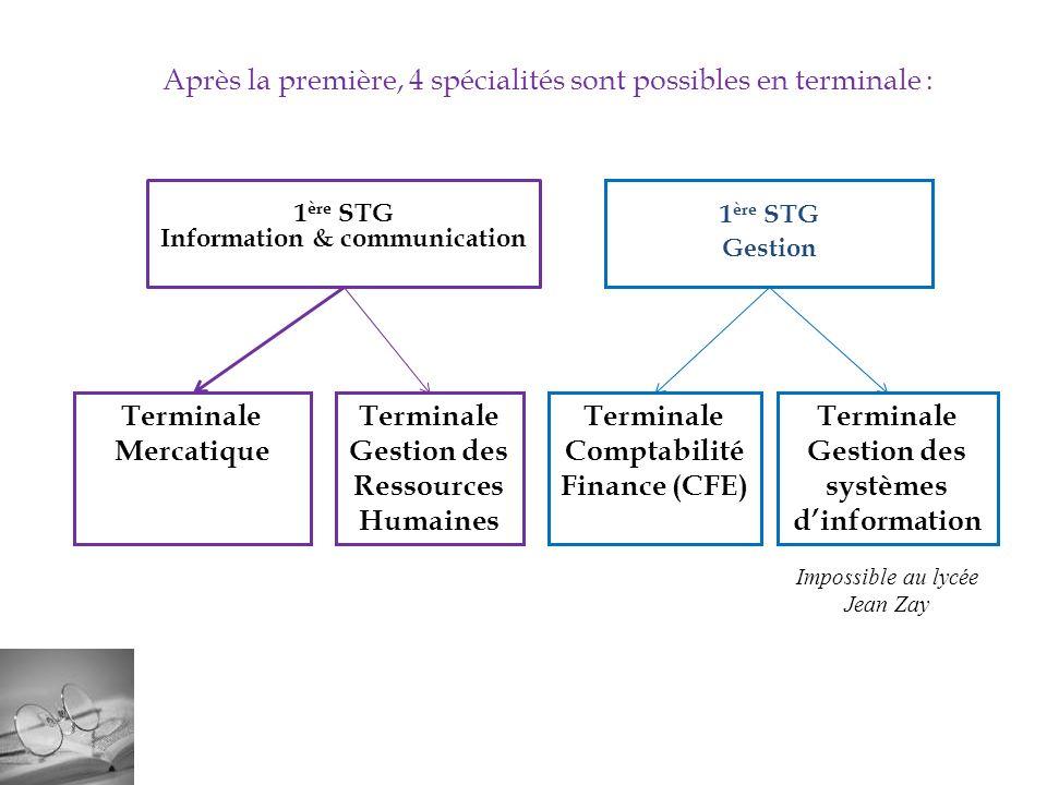 1 ère STG Information & communication 1 ère STG Gestion Terminale Mercatique Terminale Gestion des Ressources Humaines Terminale Comptabilité Finance