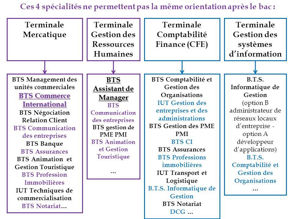 Terminale Mercatique Ces 4 spécialités ne permettent pas la même orientation après le bac : BTS Management des unités commerciales BTS Commerce Intern