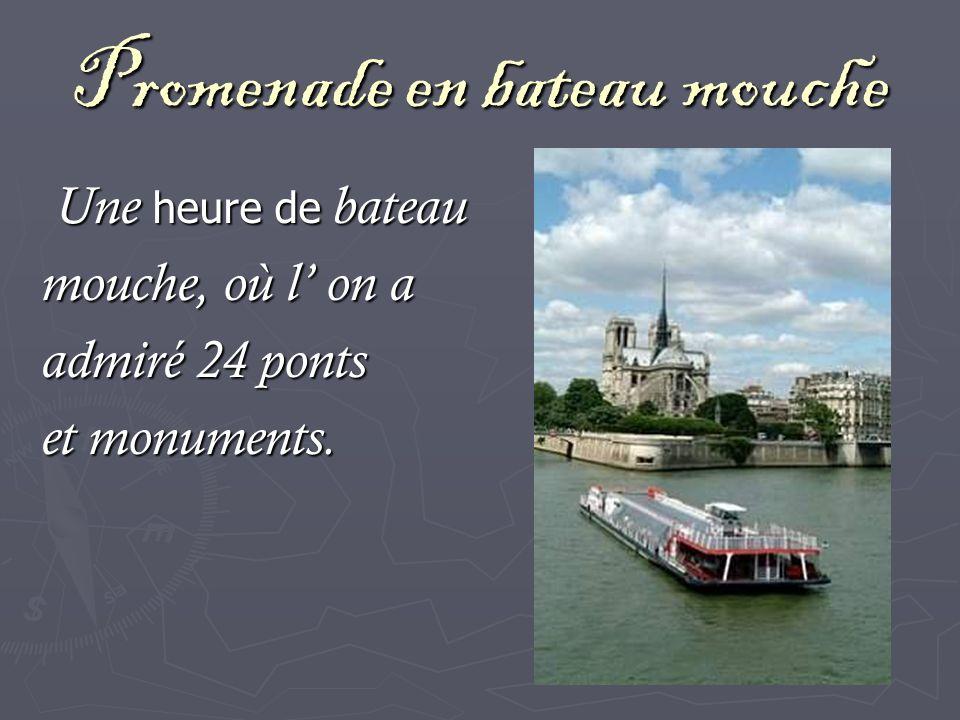 Promenade en bateau mouche Une heure de bateau Une heure de bateau mouche, où l on a admiré 24 ponts et monuments.