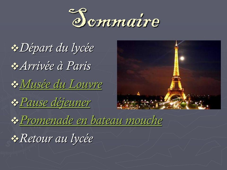 Sommaire Départ du lycée Départ du lycée Arrivée à Paris Arrivée à Paris Musée du Louvre Musée du Louvre Musée du Louvre Musée du Louvre Pause déjeune