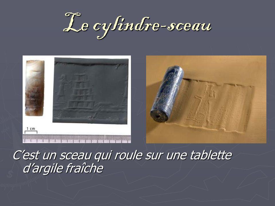 Le cylindre-sceau Cest un sceau qui roule sur une tablette dargile fraîche