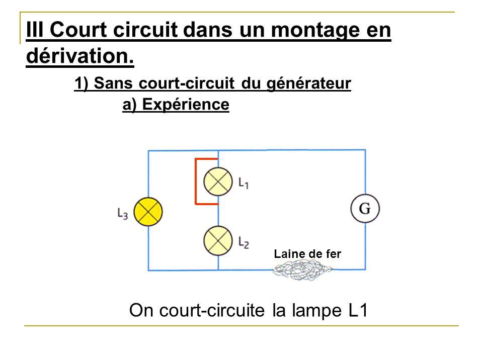 III Court circuit dans un montage en dérivation. 1) Sans court-circuit du générateur a) Expérience On court-circuite la lampe L1 Laine de fer