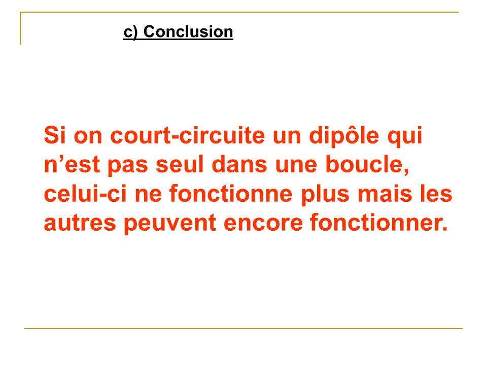 c) Conclusion Si on court-circuite un dipôle qui nest pas seul dans une boucle, celui-ci ne fonctionne plus mais les autres peuvent encore fonctionner