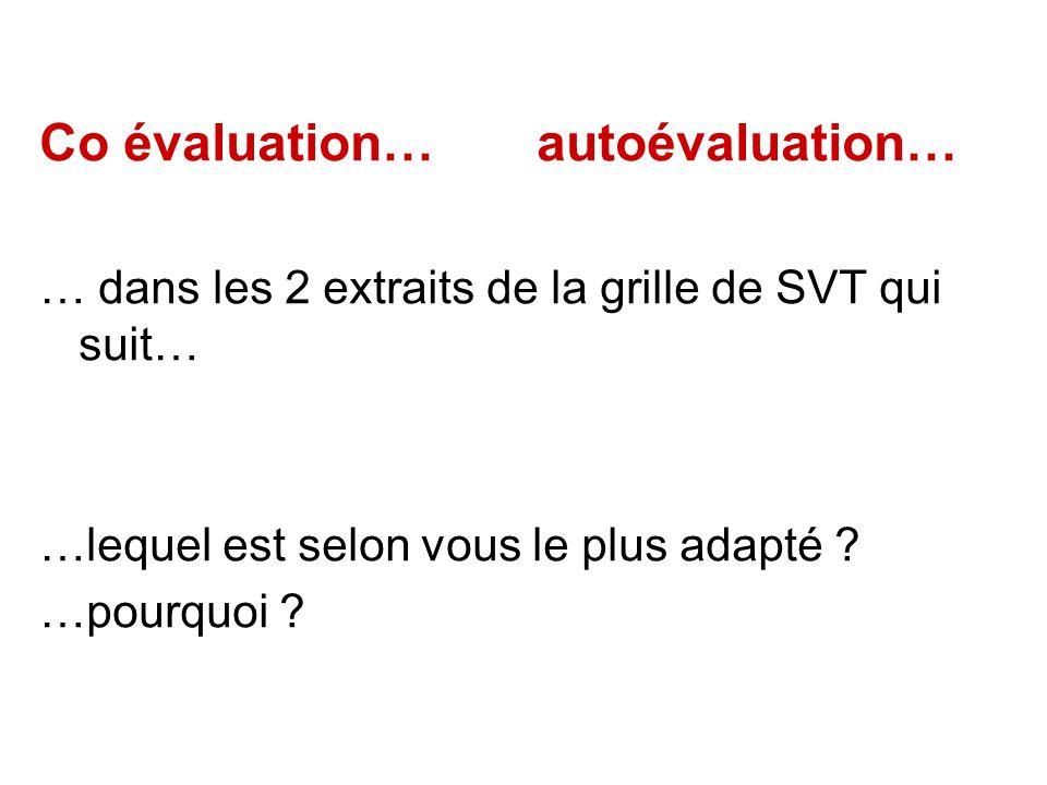 Co évaluation… autoévaluation… … dans les 2 extraits de la grille de SVT qui suit… …lequel est selon vous le plus adapté ? …pourquoi ?