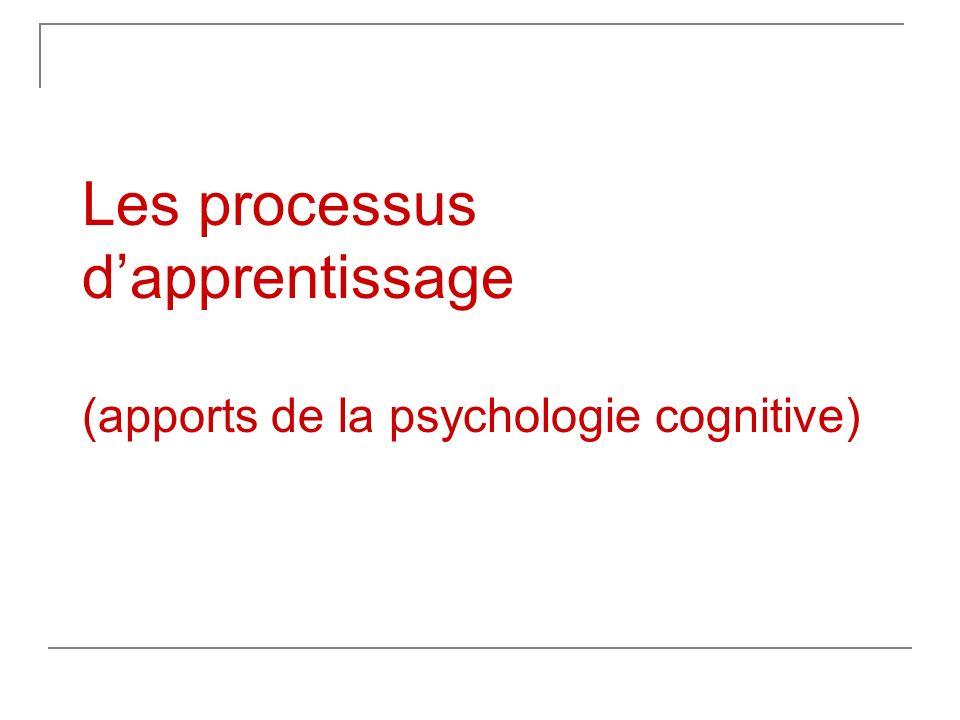 Les processus dapprentissage (apports de la psychologie cognitive)