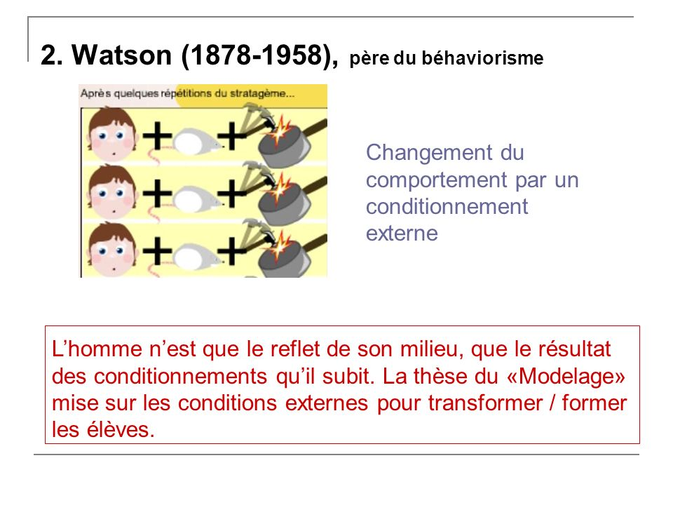 2. Watson (1878-1958), père du béhaviorisme Changement du comportement par un conditionnement externe Lhomme nest que le reflet de son milieu, que le