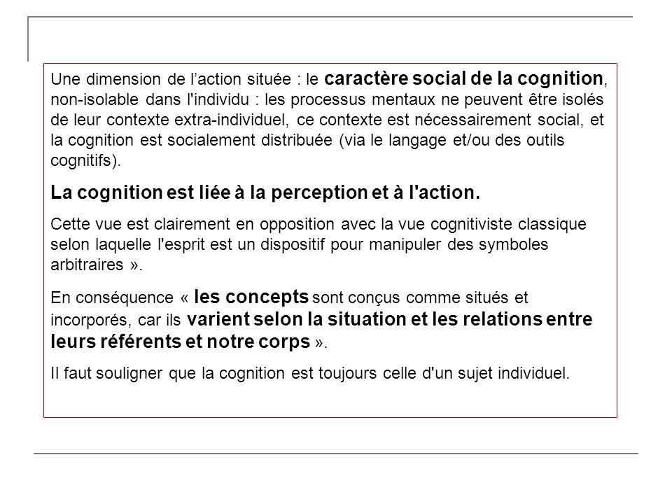 Une dimension de laction située : le caractère social de la cognition, non-isolable dans l'individu : les processus mentaux ne peuvent être isolés de