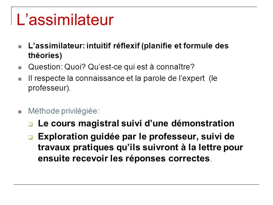 Lassimilateur Lassimilateur: intuitif réflexif (planifie et formule des théories) Question: Quoi? Quest-ce qui est à connaître? Il respecte la connais