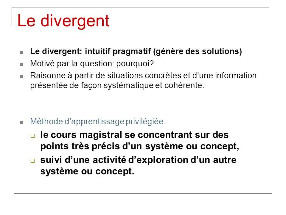 Le divergent Le divergent: intuitif pragmatif (génère des solutions) Motivé par la question: pourquoi? Raisonne à partir de situations concrètes et du